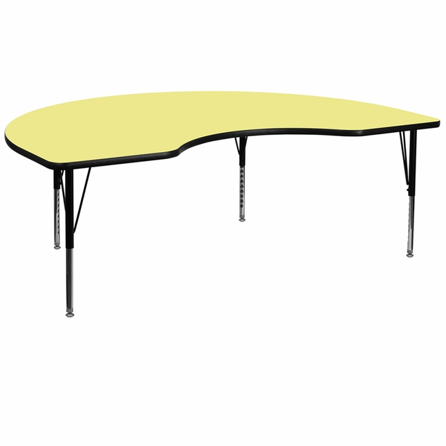 "48""Wx72""L Kidney Preschool Activity Table W/ Yellow Laminate Top"
