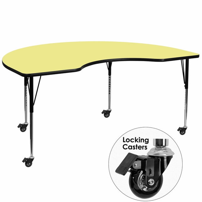 """48""""Wx72""""L Kidney Shaped Preschool Activity Table W/ Yellow Laminate Top"""