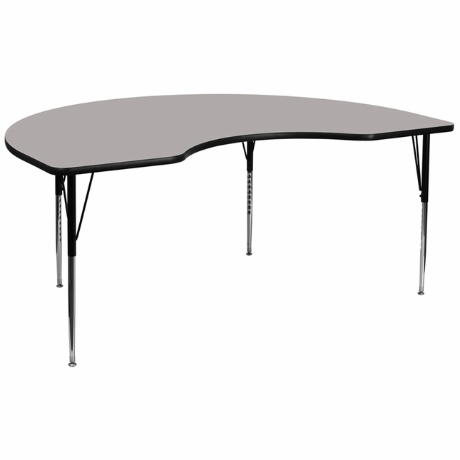 """48""""Wx96""""L Kidney Activity Table W/ 1.25'' Thick Grey Laminate Top"""