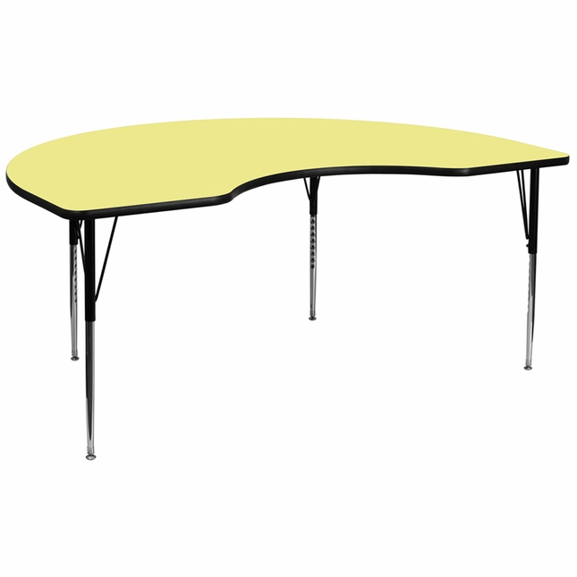 "48""Wx96""L Kidney Activity Table W/ Yellow Laminate Top & Adjustable Legs"