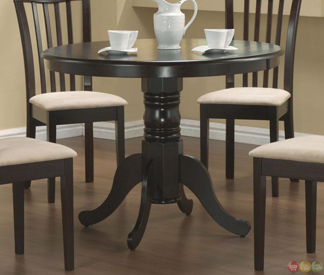 5 piece casual microfiber fabric round dining room set for 5 piece dining set