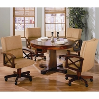 5 Piece Casual Oak 3-in-1 Recreational Game Table Set