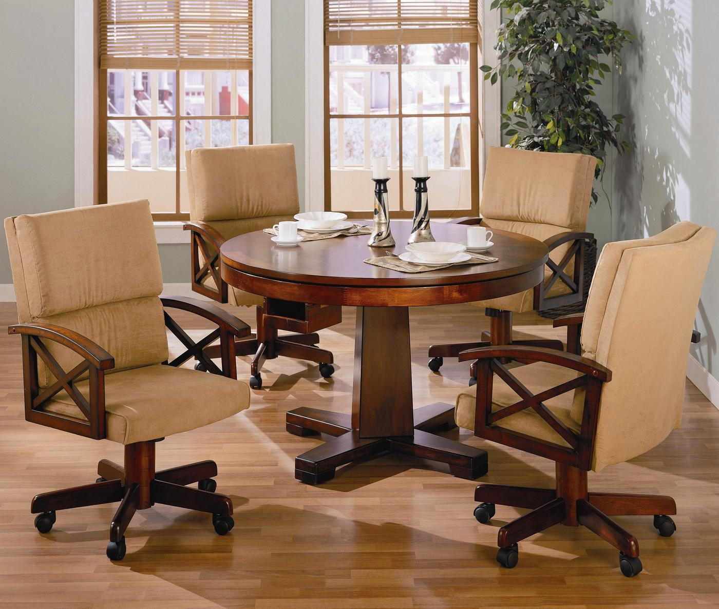5 Piece Casual Oak 3 In 1 Recreational Game Table Set