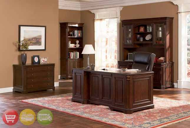 5 Piece Executive Home Office Credenza Hutch Desk Set