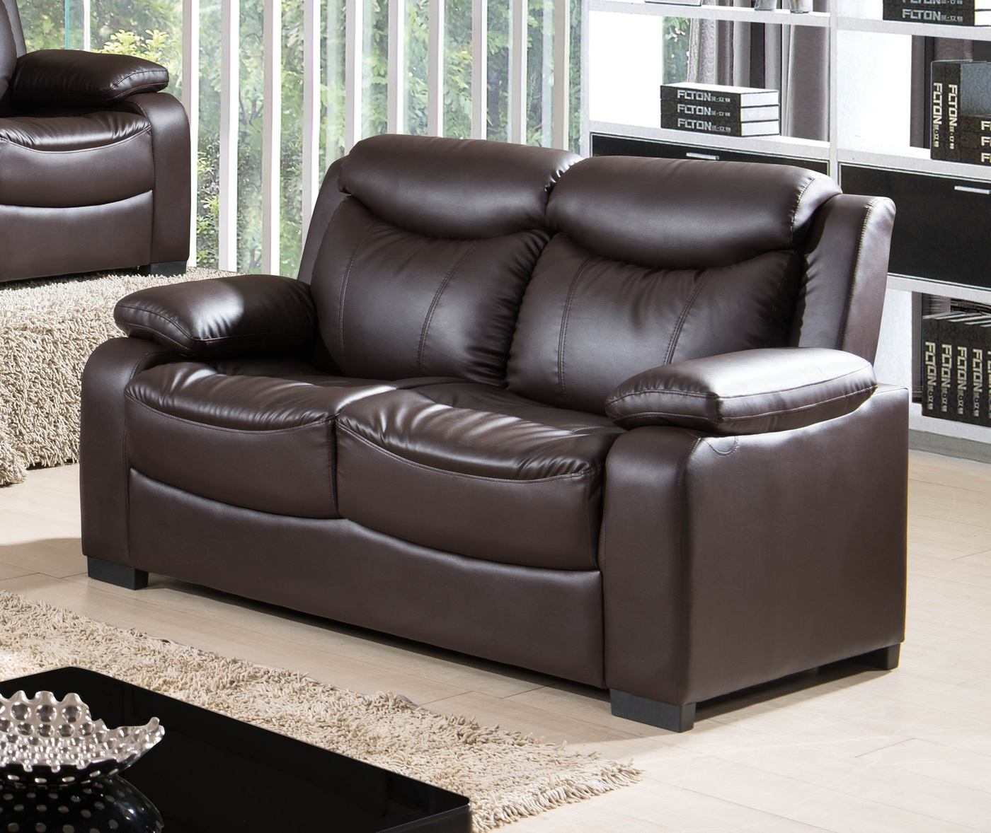 5506 Contemporary Dark Brown Bonded Leather Loveseat