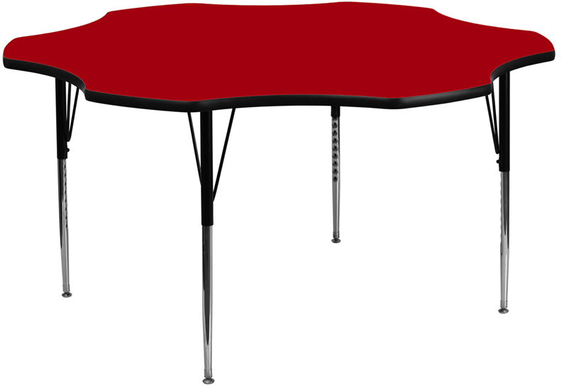 60 Inch Flower Shaped School Activity Table Red Laminate