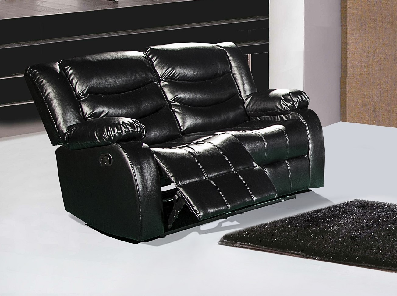 644bl Black Leather Reclining Loveseat With Pillow Arms