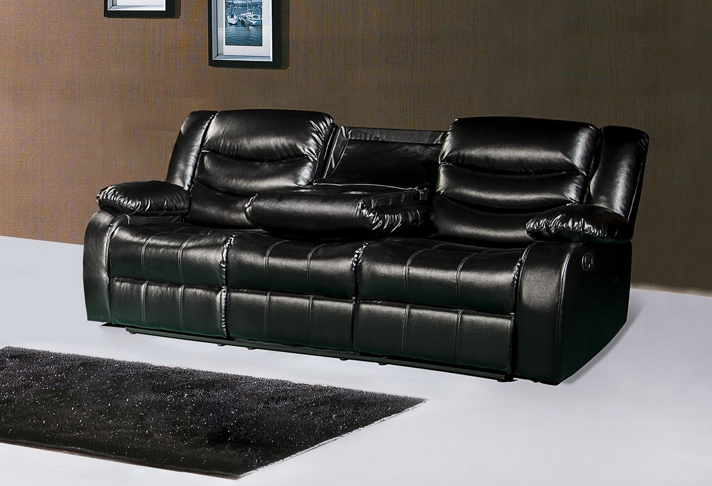 Powell Loveseat Recliner.Kyson Modern Black Bonded Leather ...