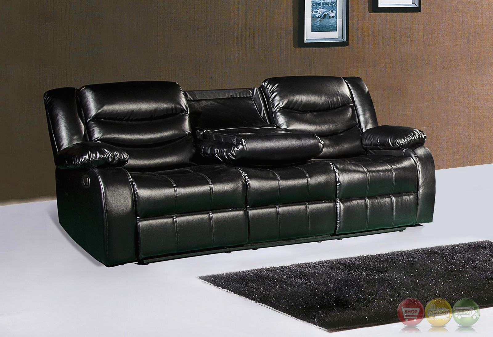 644bl black leather reclining sofa with drop down console for Sofa console