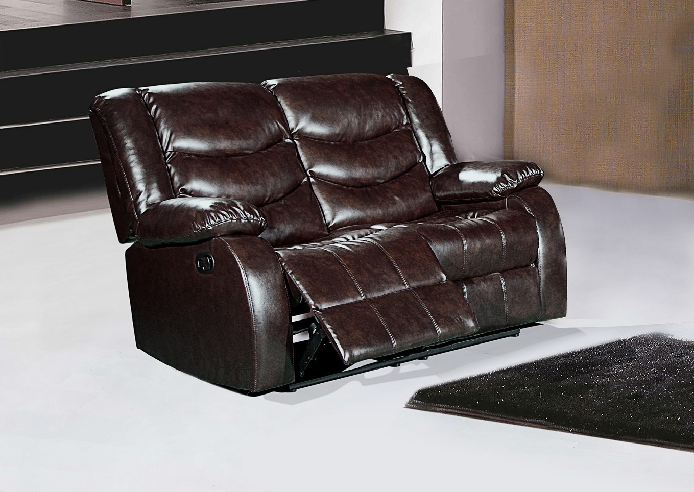 644br Brown Leather Reclining Loveseat With Pillow Arms