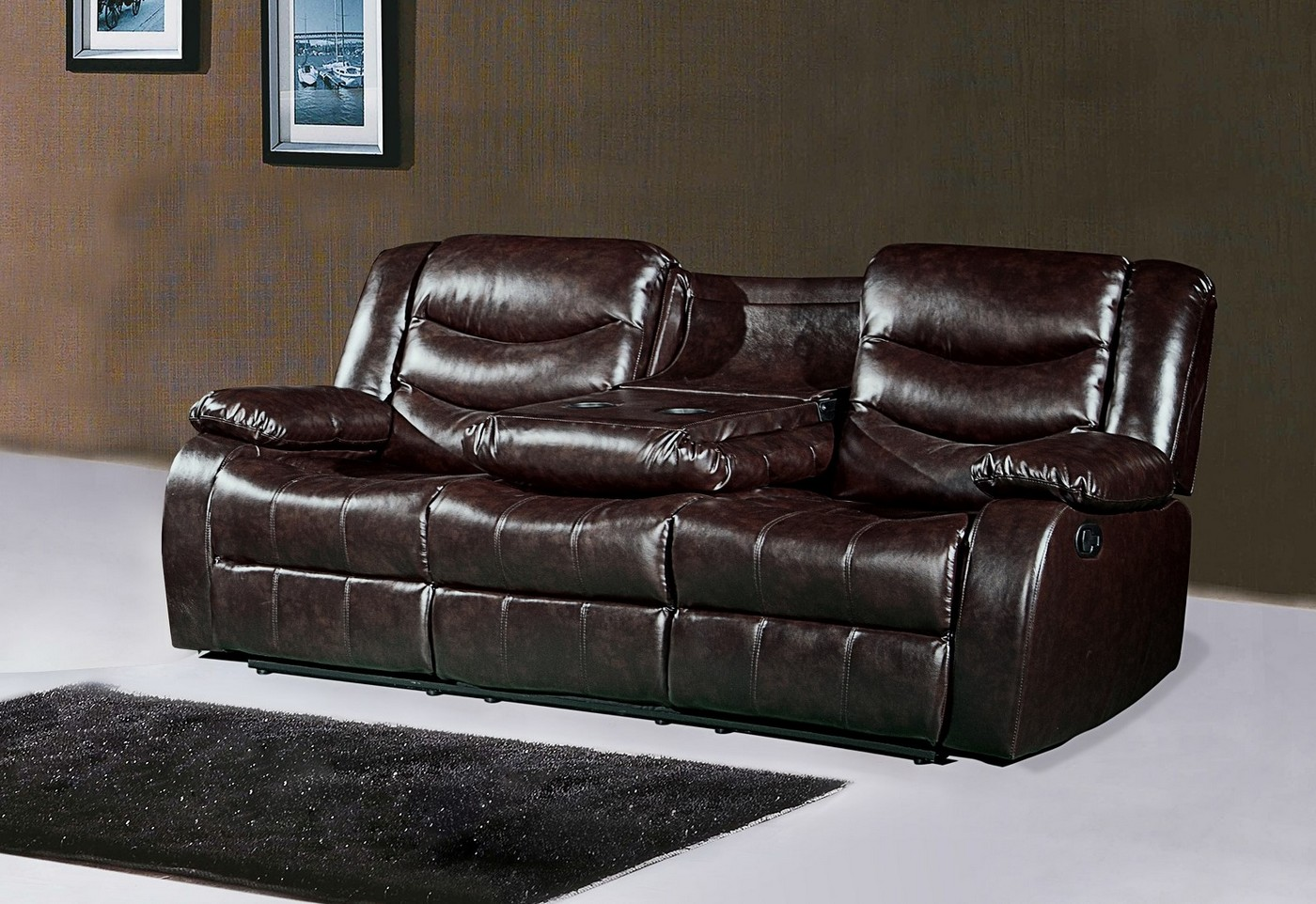 644br brown leather reclining sofa with drop down console. Black Bedroom Furniture Sets. Home Design Ideas
