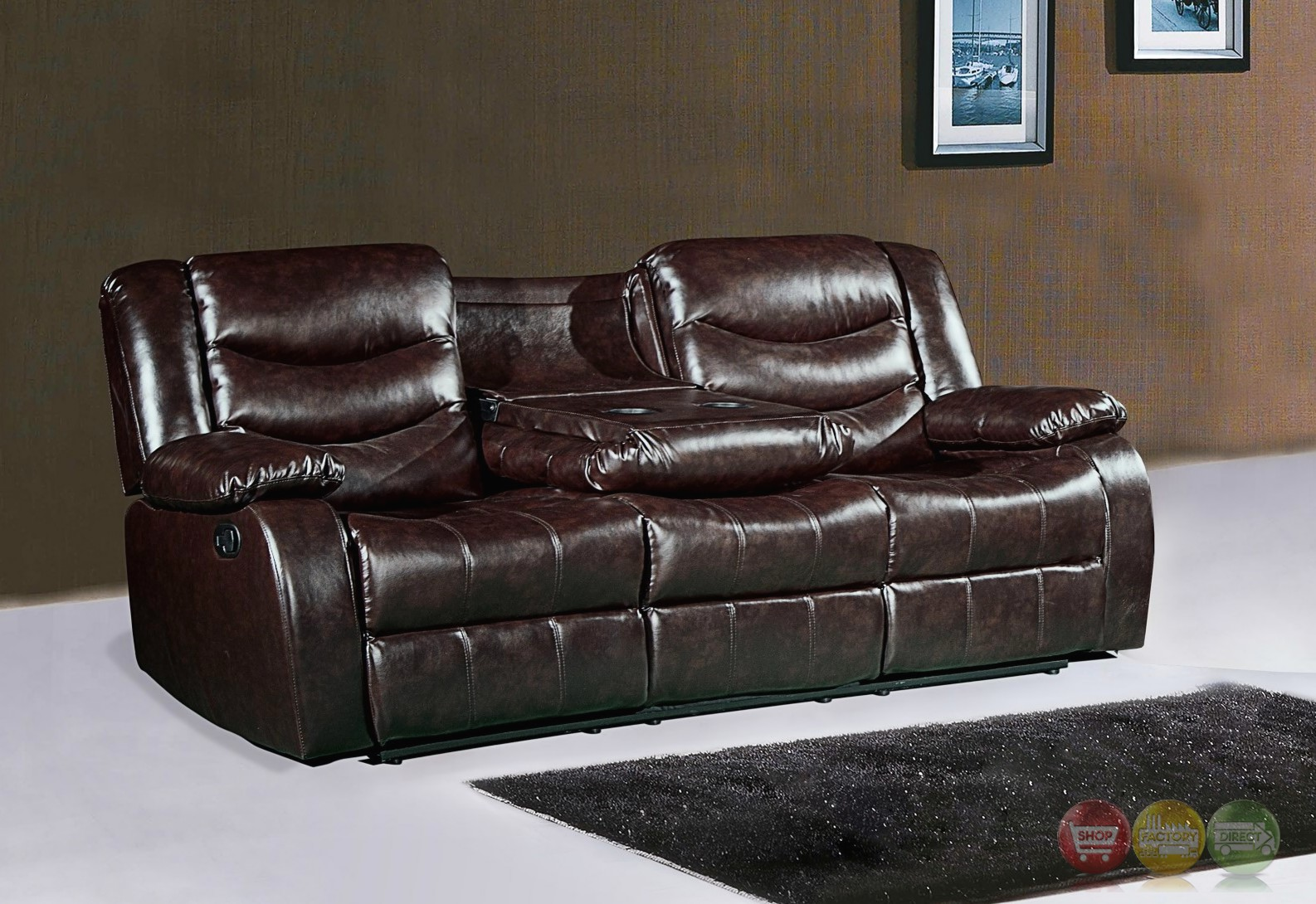 644br brown leather reclining sofa with drop down console for Sofa console