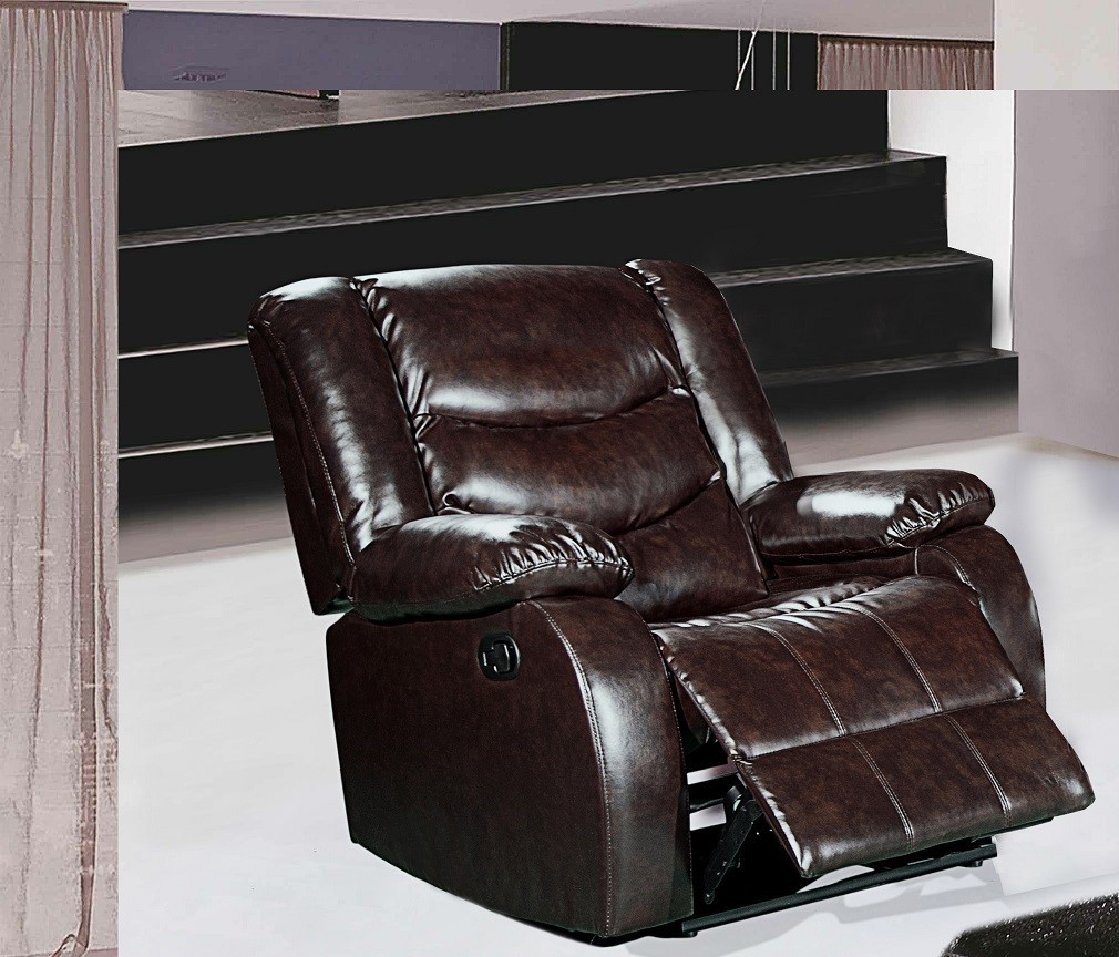 644br Brown Leather Rocker Reclining Chair With Pillow Arms