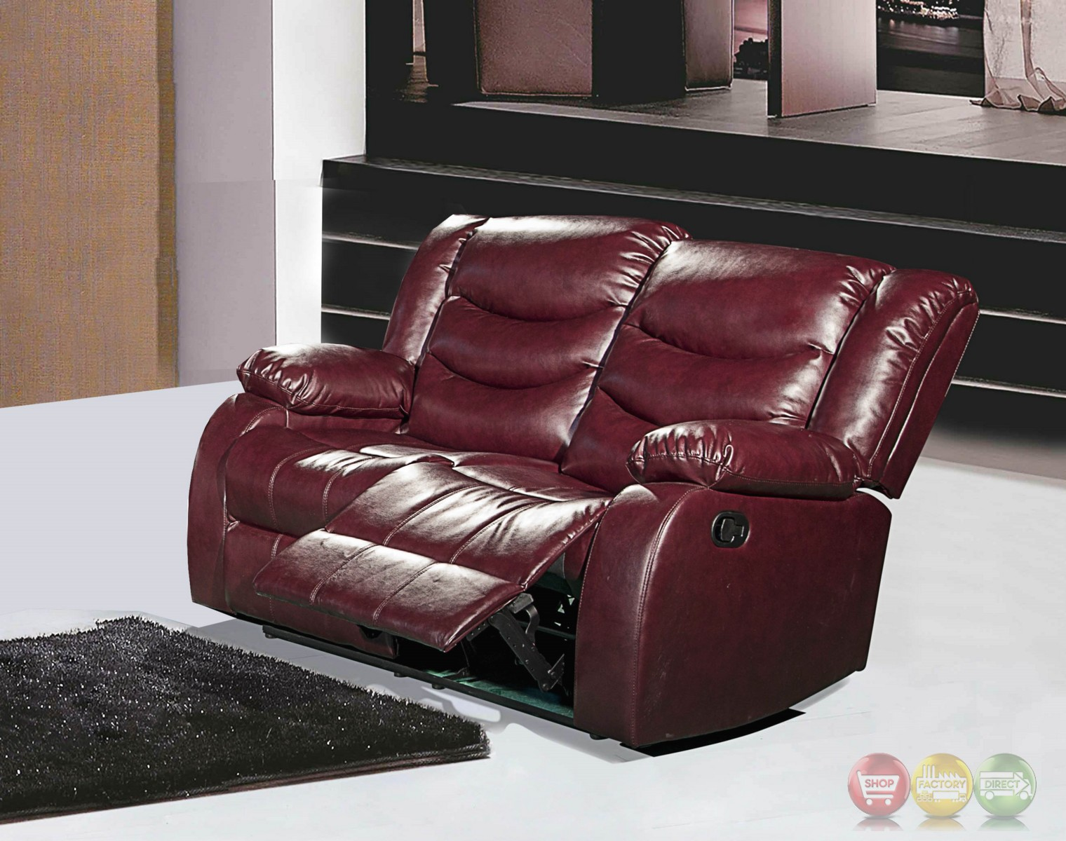 644burg burgundy leather reclining loveseat with pillow arms
