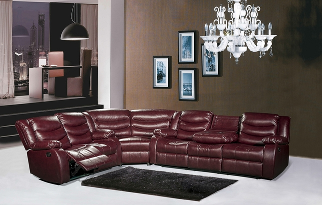 644BURG Burgundy Leather Reclining Sectional Sofa With Drop ...