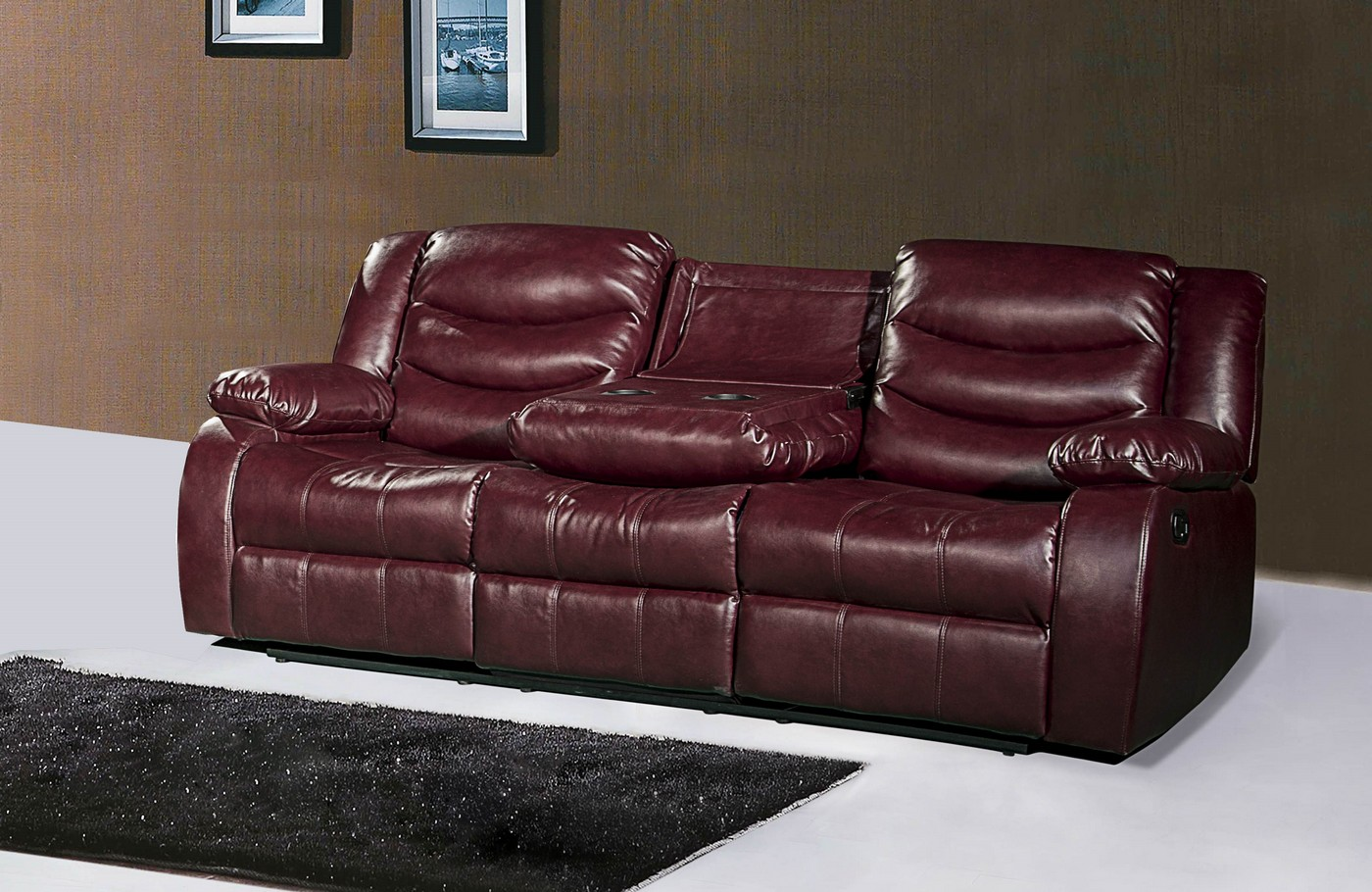 644burg burgundy leather reclining sofa with drop down console Burgundy leather loveseat