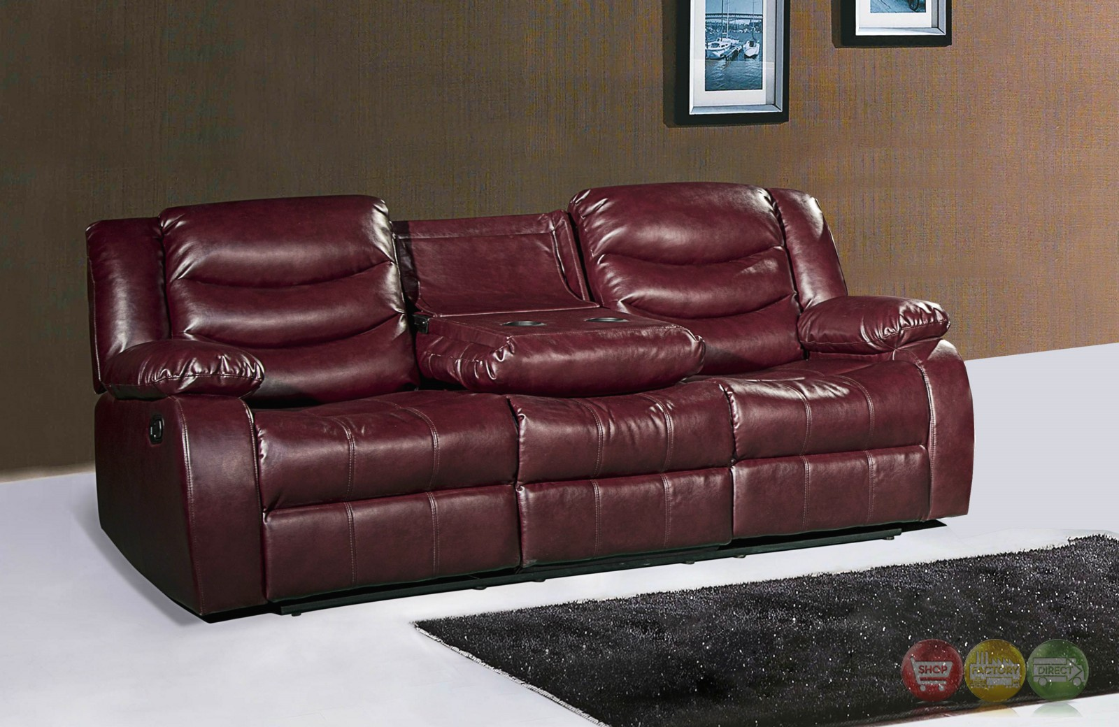 644burg Burgundy Leather Reclining Sofa With Drop Down Console