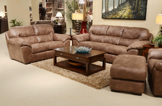 4453 Grant Stilt Brown Sofa and Loveseat in Bonded Leather with Nu-Buck Feel