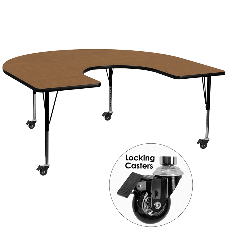 66 Inch Horseshoe School Activity Table Oak Top With