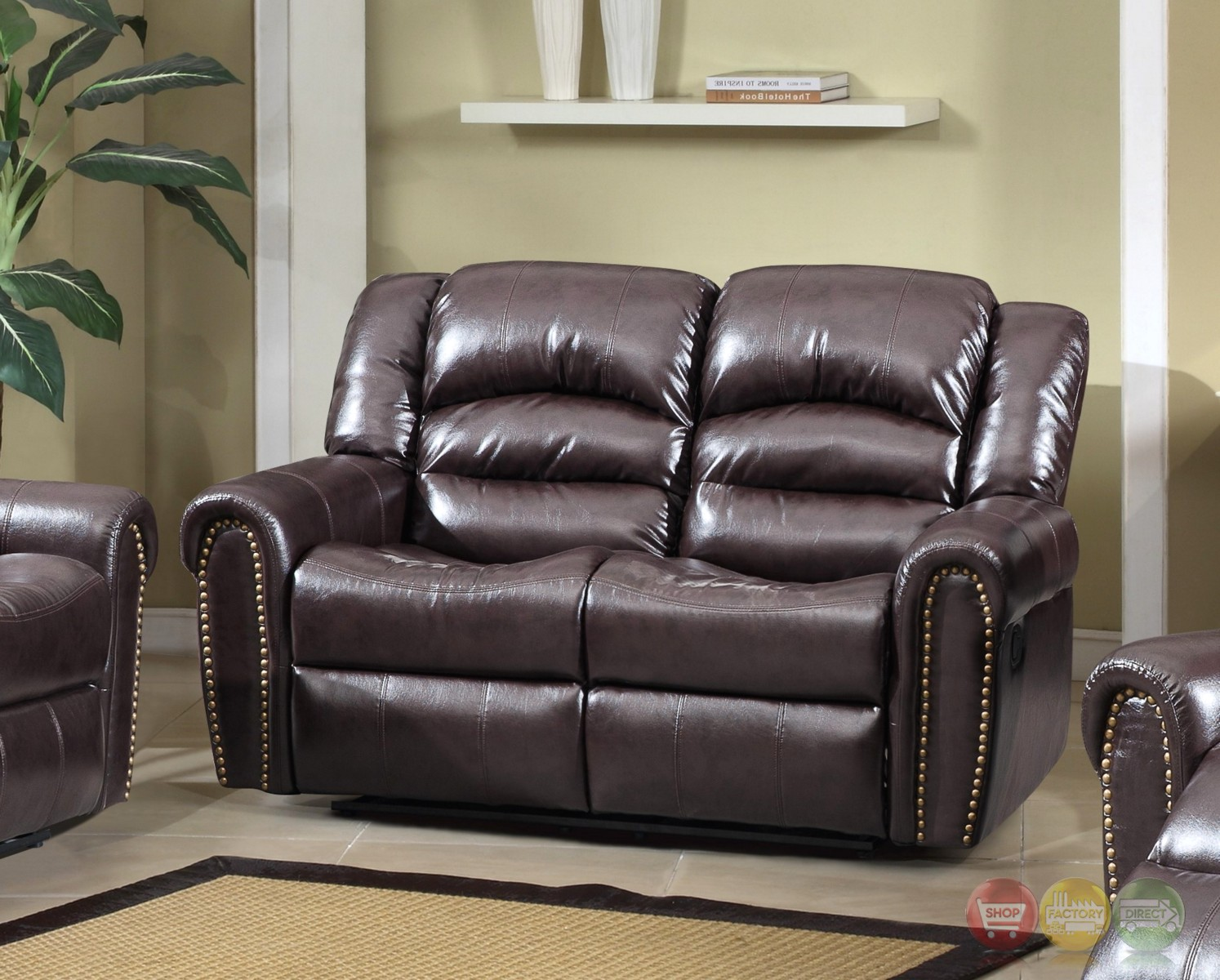 684 Brown Leather Reclining Loveseat With Nailhead Trim