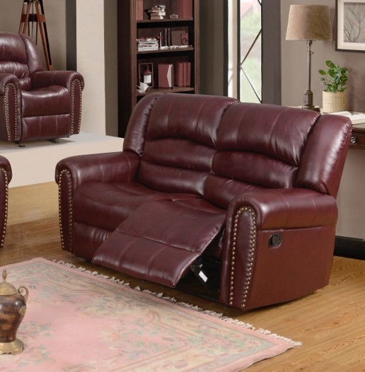 686 Burgundy Leather Reclining Loveseat With Nailhead Trim