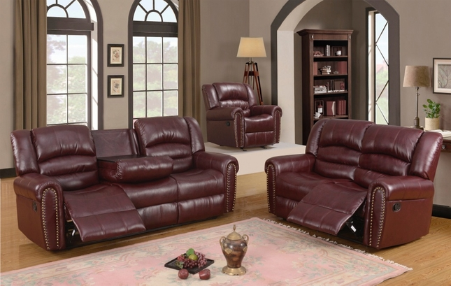 686 Burgundy Leather Traditional Reclining Sofa & Loveseat ...
