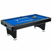 Carmelli Hustler 8-Ft Pool Table with Blue Felt & Ball Return in Black Finish