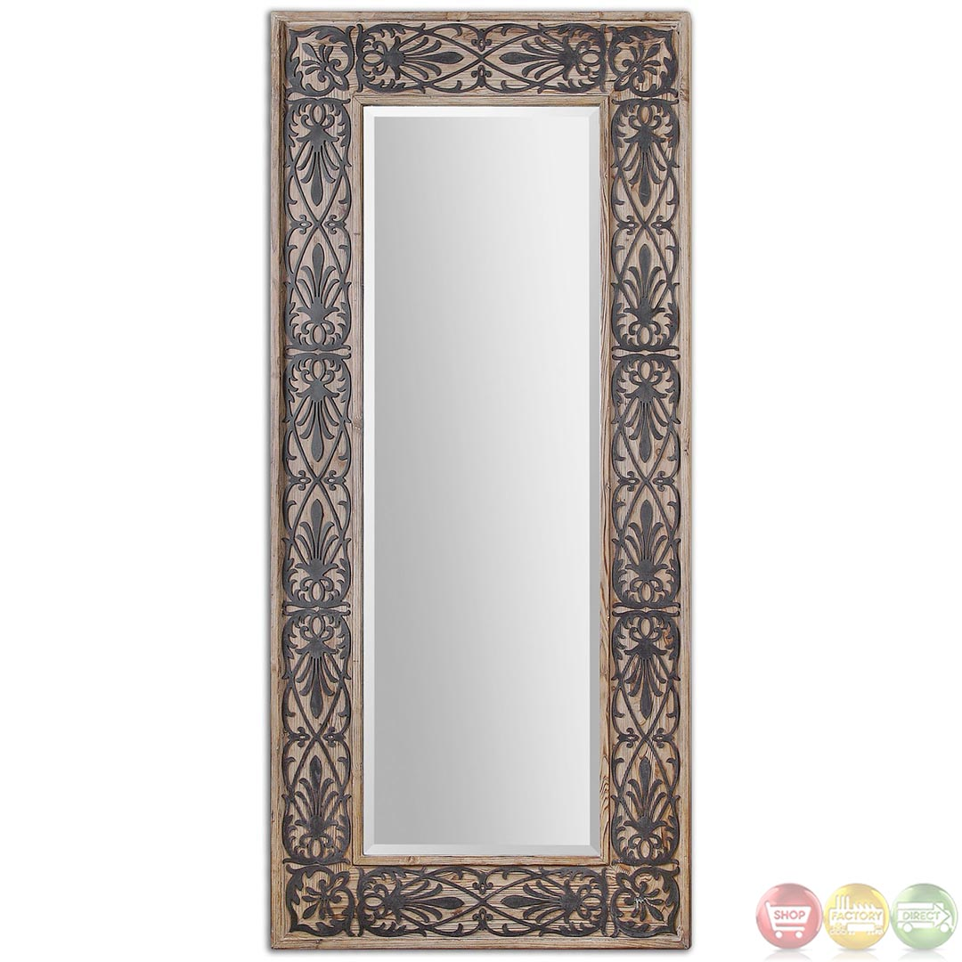 Abelardo traditional rustic solid wood with aged black for Traditional mirror