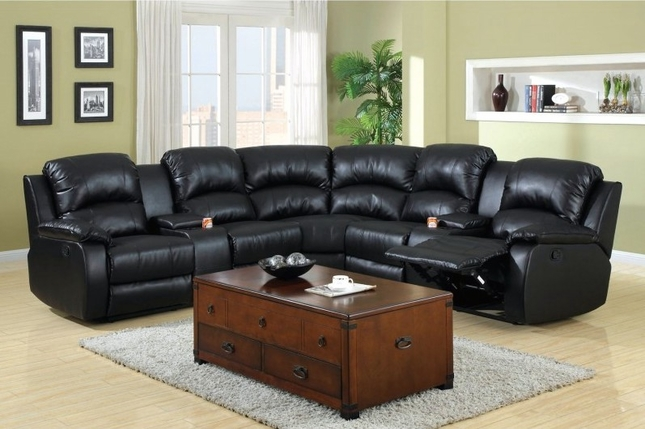 Aberdeen Black Bonded Leather Sectional Sofa Set w/Cup Holders