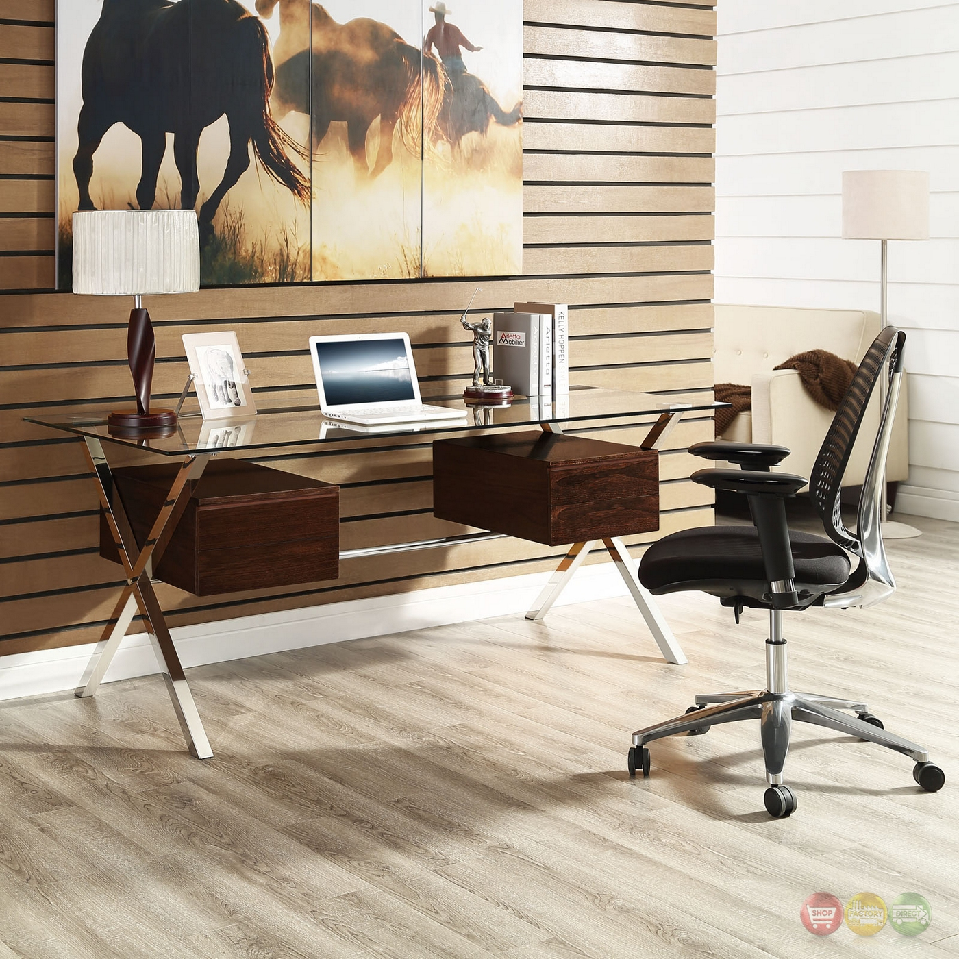 Abeyance Modern Glass Top & Steel Office Desk With Walnut Finished Drawers, Walnut