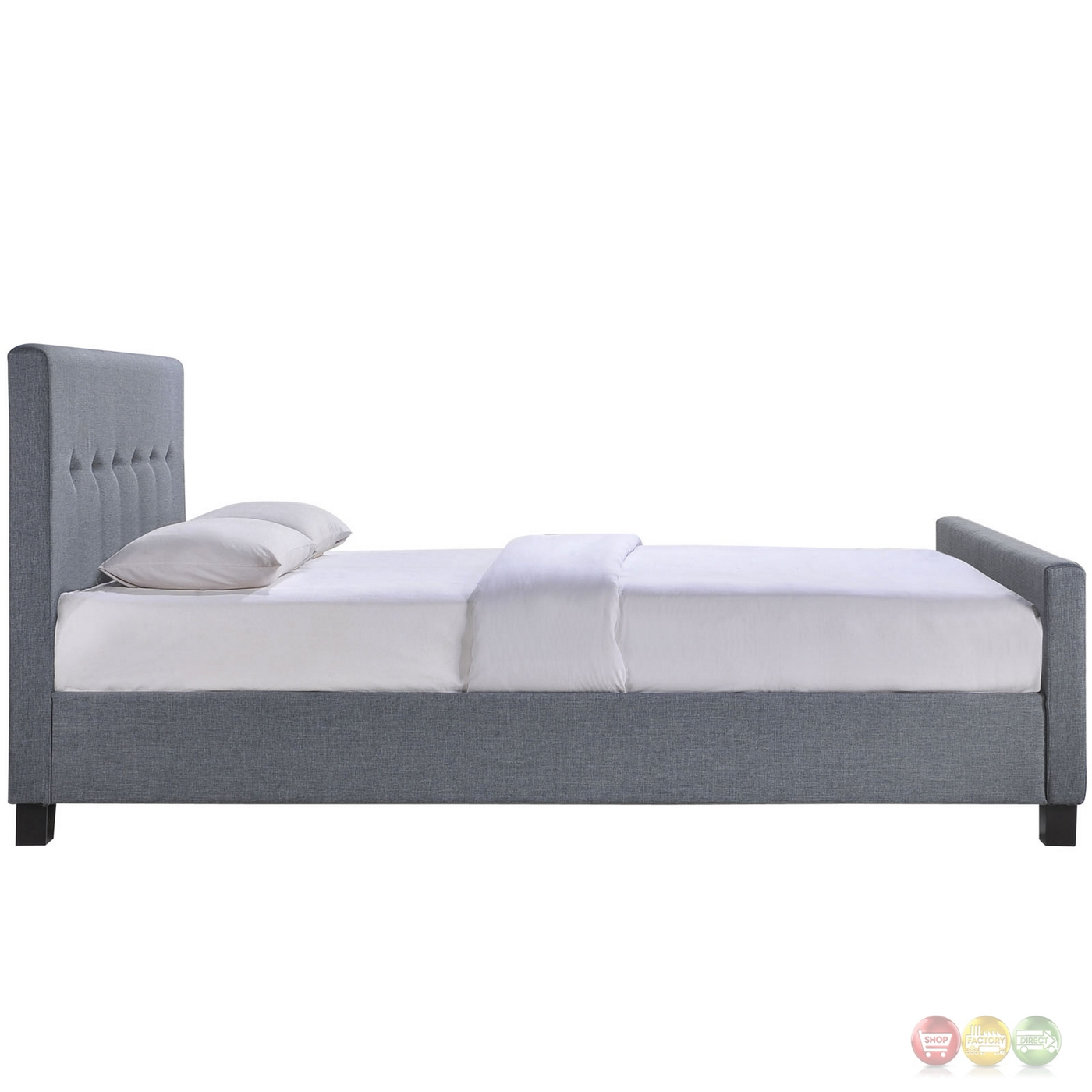 Abigail Contemporary Upholstered Button Tufted King Bed Smoke