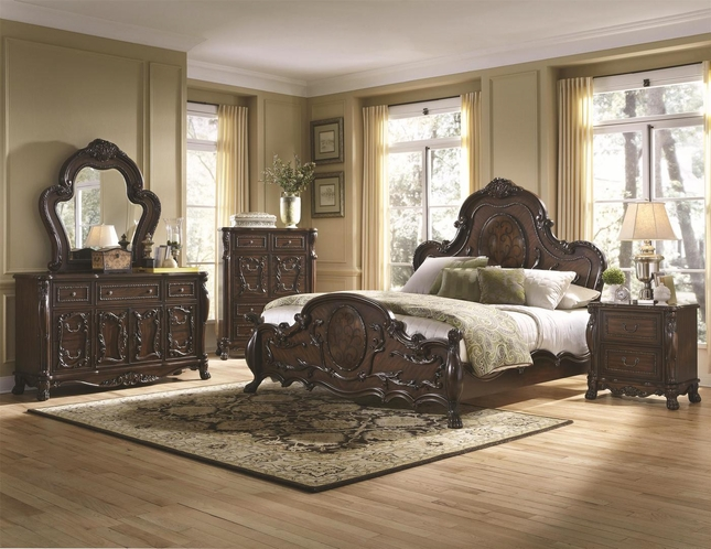 Exceptional Abigail Victorian Antique Style Cherry Bedroom Furniture Set