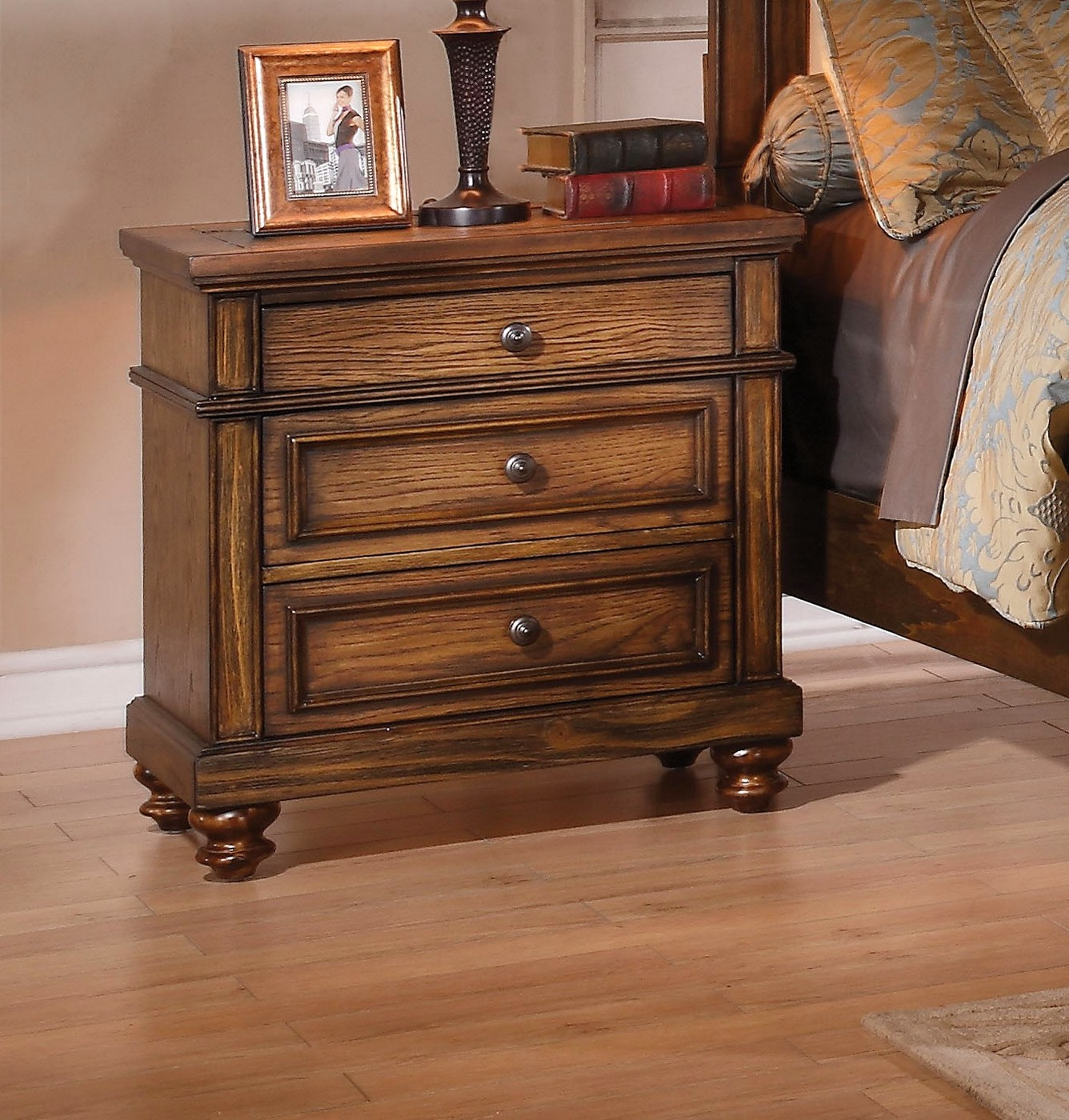 Abilene Rustic 3 Drawer Nightstand With Slate Inlay Amp Oak