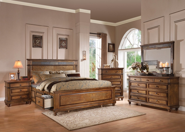 Abilene Rustic 4-pc Queen Storage Bed Set with Stone Accent ...