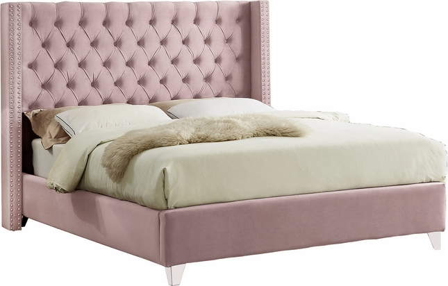Abram Pink Velvet King Wing Bed W Button Tufted Headboard
