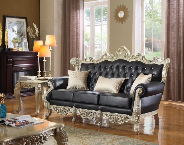 Astounding Abril Ornate Black Crystal Tufted Bonded Leather Sofa W Creativecarmelina Interior Chair Design Creativecarmelinacom