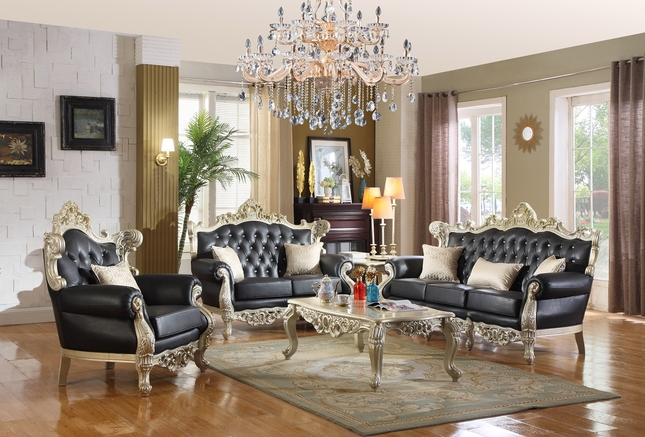 Abril Ornate Sofa Loveseat Black Silver Crystal Tufted Bonded Leather
