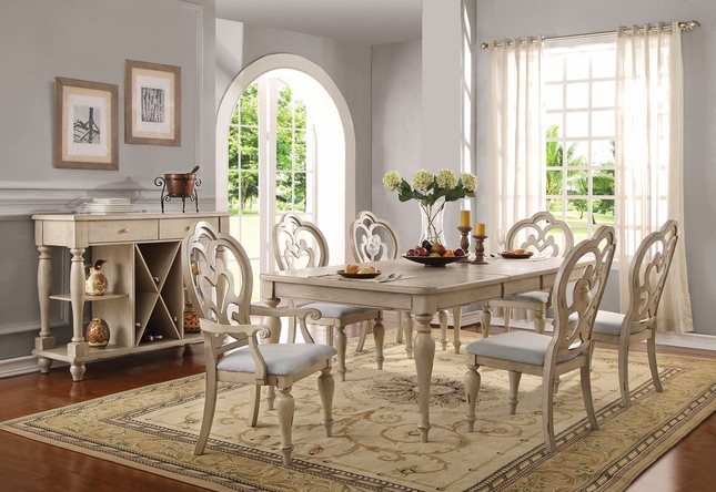 Absolon French Country Dining Room Set 66 86 Table Antique White Finish