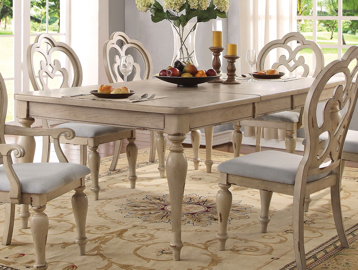 French Country Dining Table Set White Wood Dining Room Table