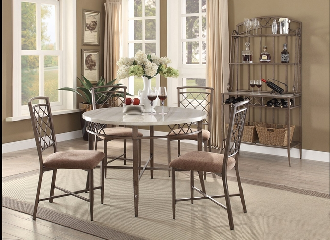 Adalgar Grey Round Dining Table And Chairs | Faux Marble Dining Set