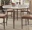 "Adalgar  5-pc 45"" Round Grey Faux Marble Dining Table Set w/ Metal Accent Base"