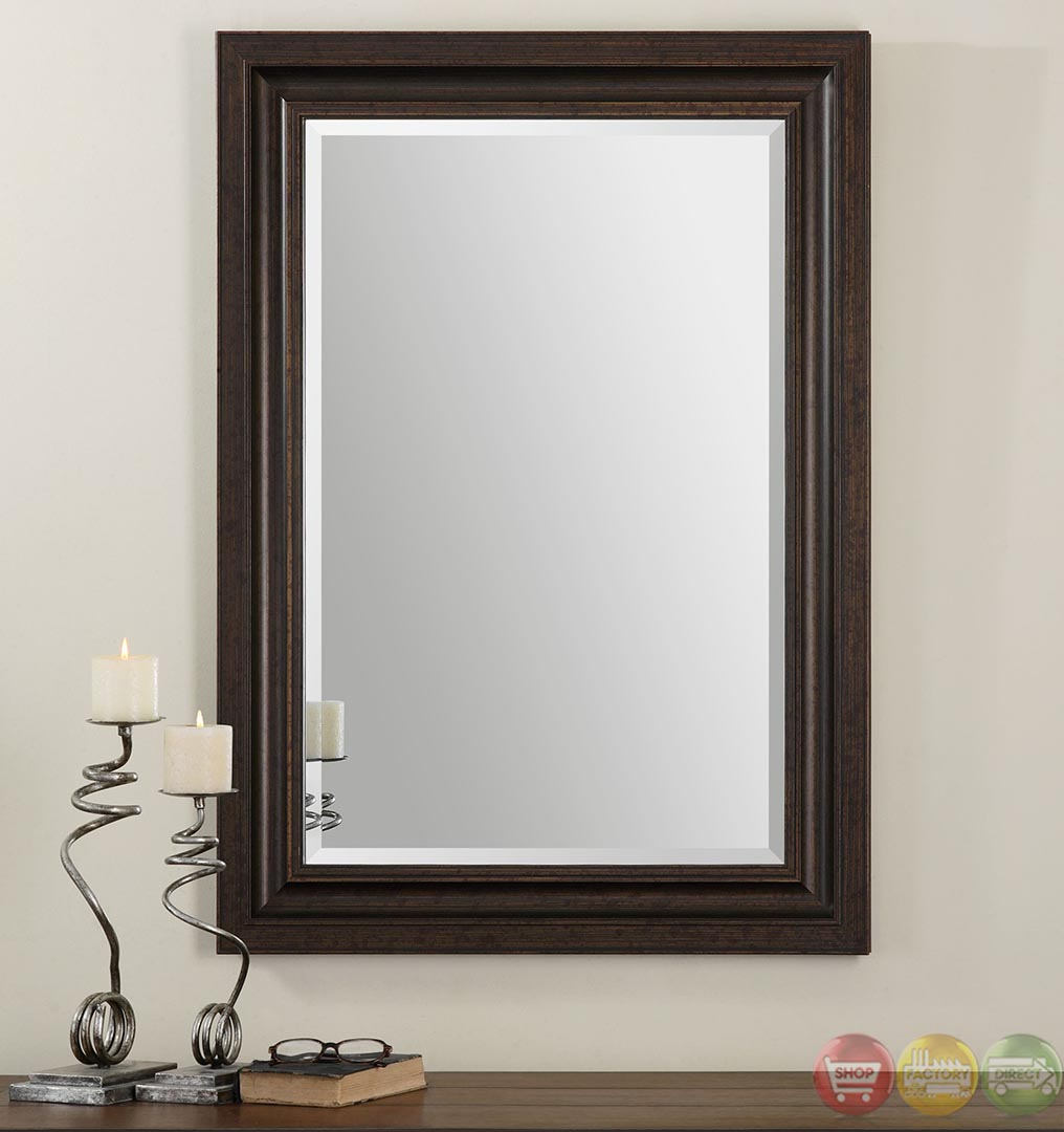 Adalwin traditional lightly distressed dark bronze mirror for Traditional mirror