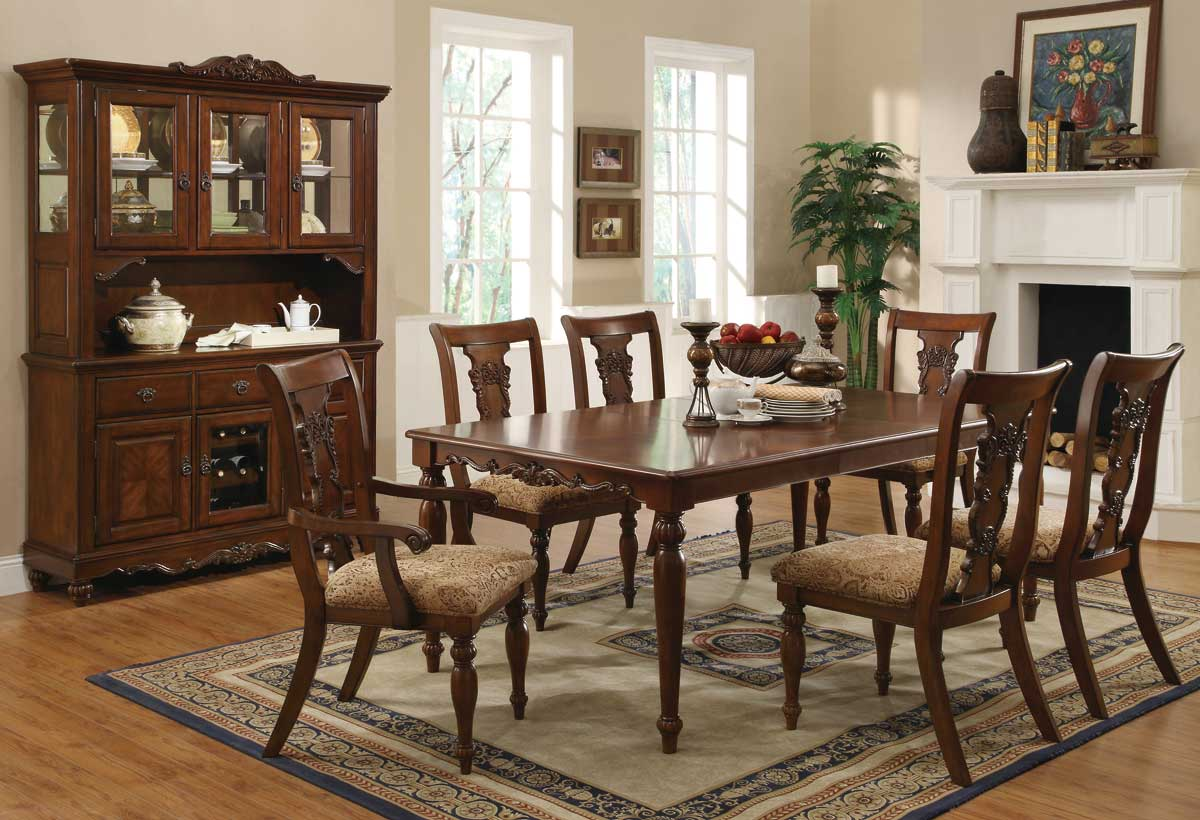 Addison cherry brown finish transitional dining set for Formal dining room sets
