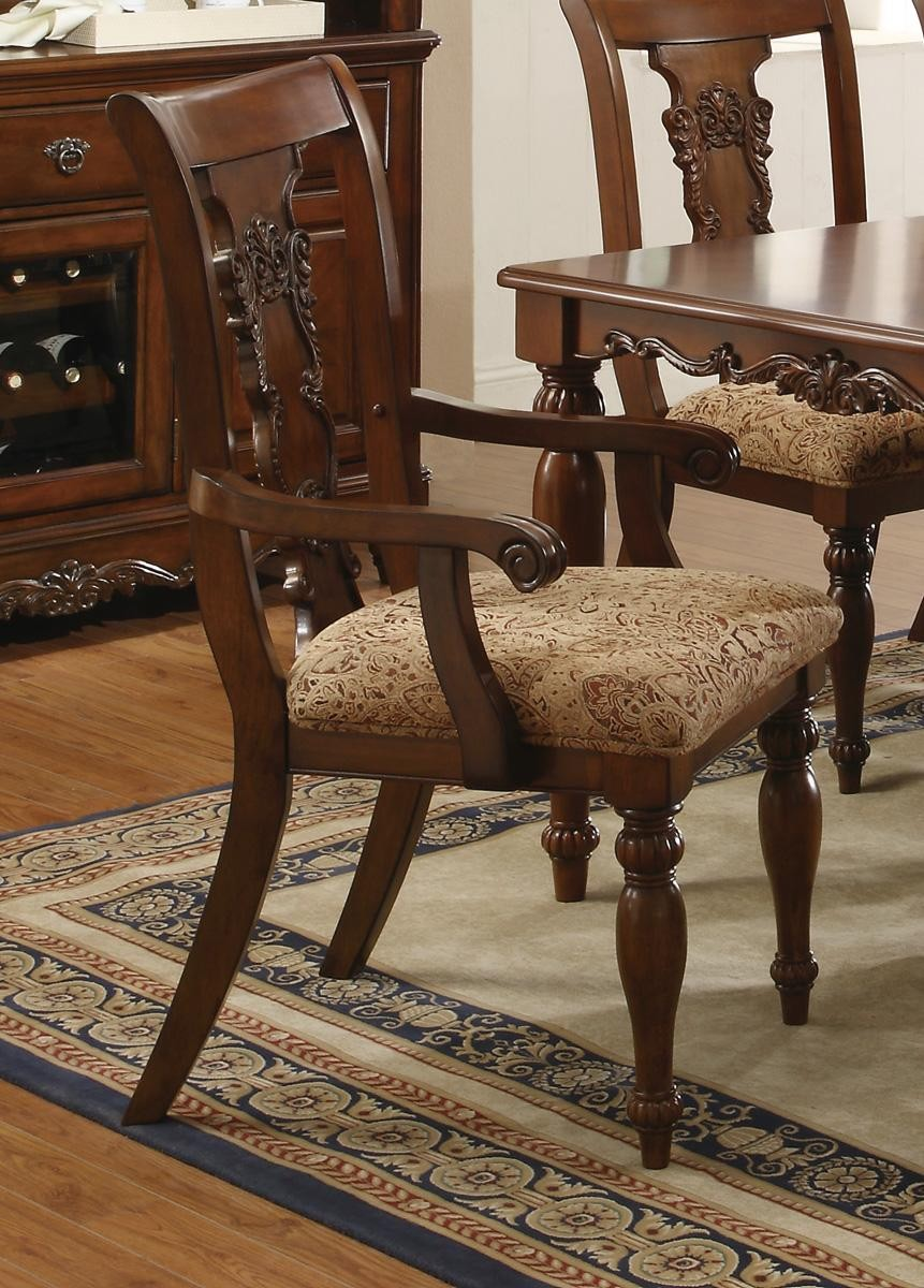 Addison cherry brown finish transitional dining set for Coaster furniture of america