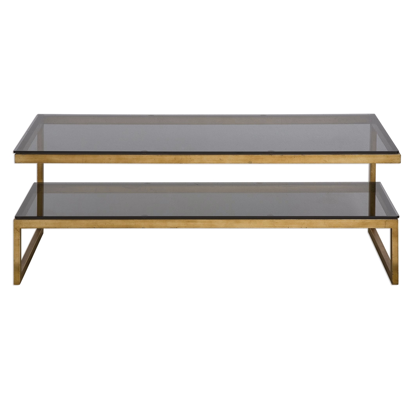 Adeen gold cantilevered iron coffee table with smoke grey for Tempered glass coffee table