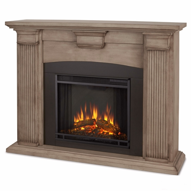 Adelaide Electric LED Heater Fireplace In Dry Brush White, 4700BTU, 51x39