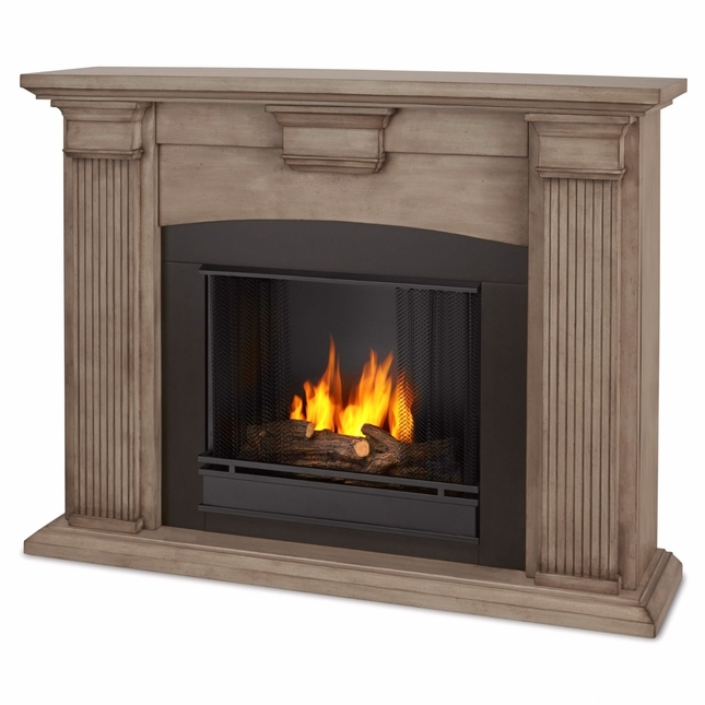 Adelaide Ventless Gel Fireplace In Dry Brush Grey White, 51x39