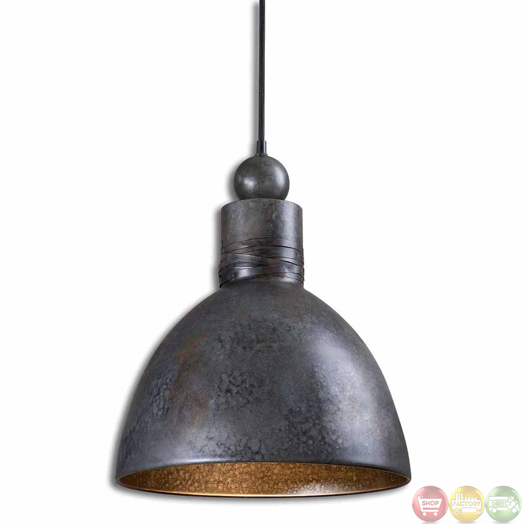 Adelino rustic single pendant light fixture 21976 for How to make a hanging light fixture