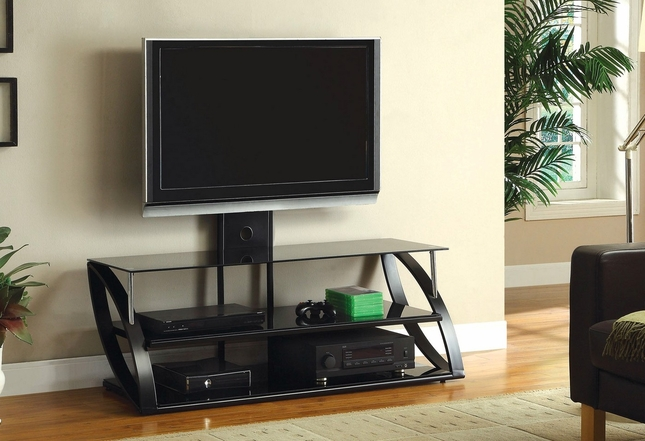 Adella Black and Chrome TV Stand With Mounting Bracket