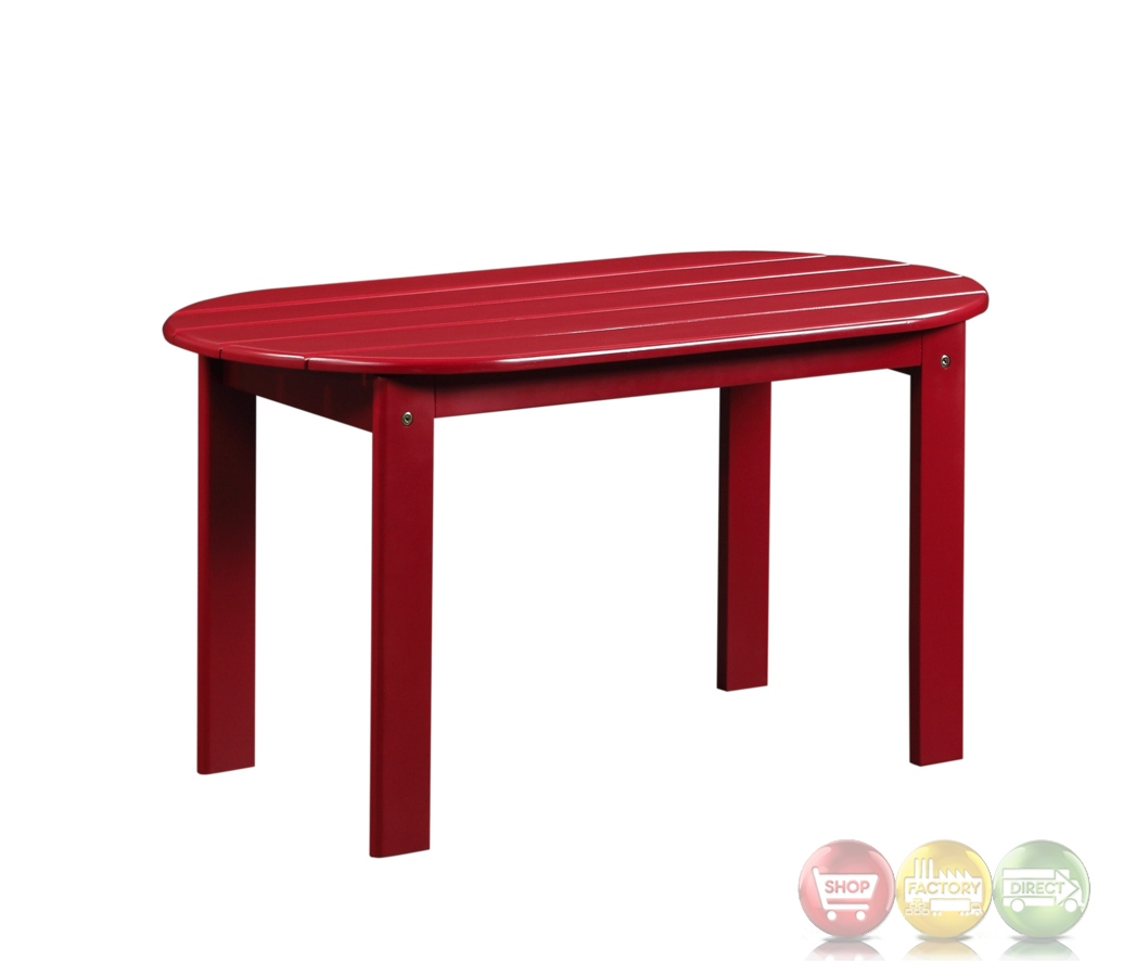 Adirondack Outdoor Red Coffee Table With Solid Wood